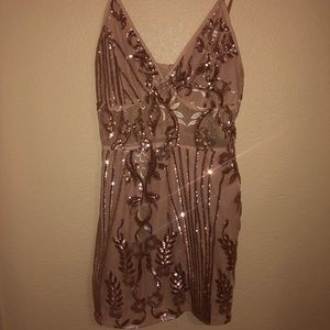 39f10402 PrettyLittleThing Dresses - Rose Gold Sheer Strappy Panel Sequin Bodycon  Dress